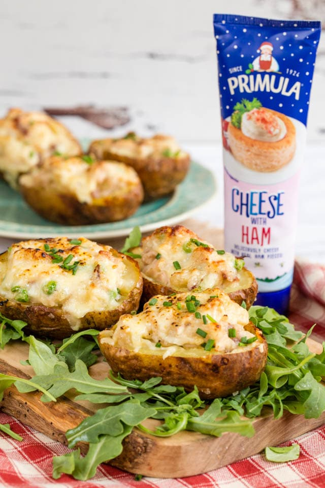 Delicious twice baked potatoes stuffed with turkey, ham and Primula cheese.