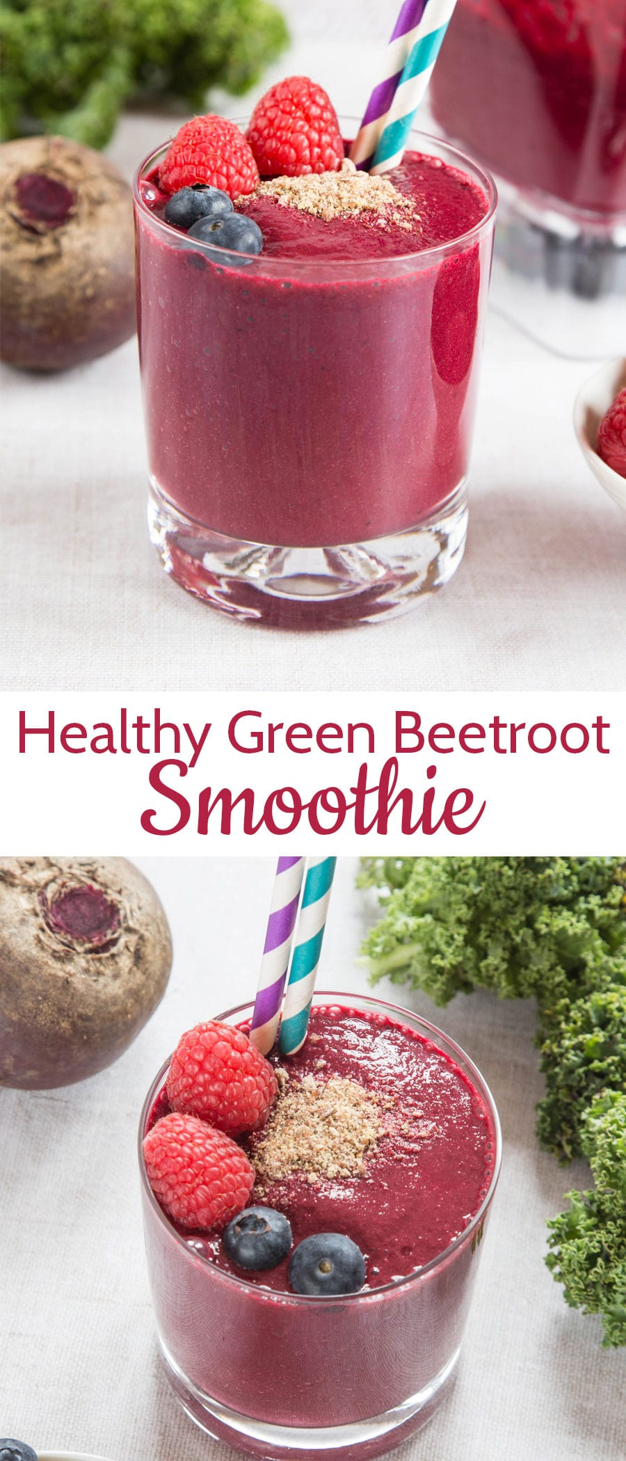 This vibrant beetroot smoothie with added kale is so easy to make - simply pop all the ingredients into a power blender and whizz and go. A nutrition packed power breakfast! Delicious with earthy notes and a vibrant colour from the beetroot.