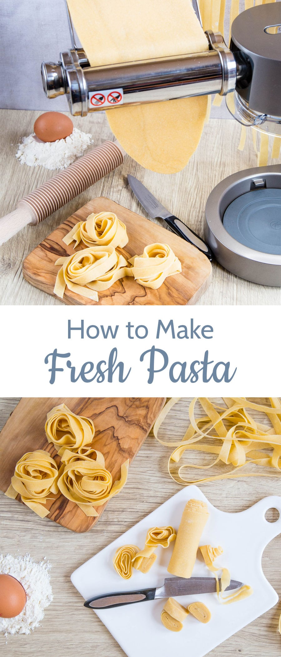 Learn how to make fresh homemade pasta with a stand mixer in this easy step by step tutorial that will have all your favorite pasta eaters begging to come over for pasta night!