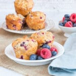 A plate of delicious frozen berry yogurt muffins.