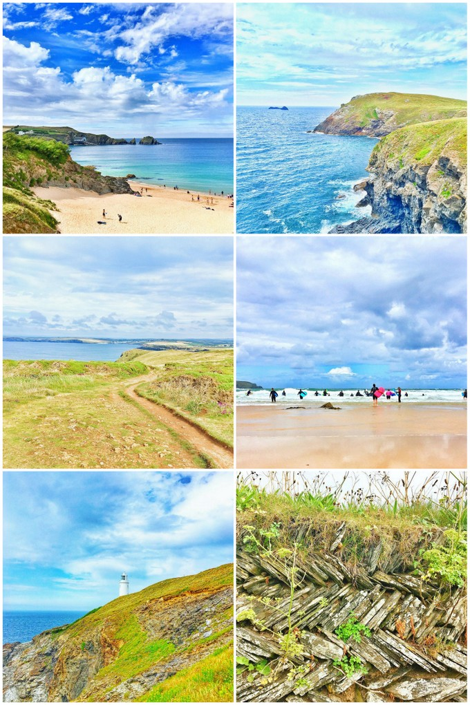 6 images of yellow sandy beaches, sea and cliffs in North Cornwall.