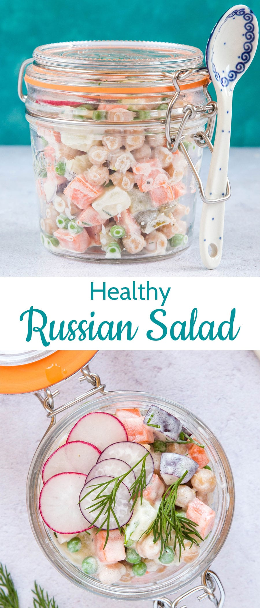 Creamy Russian potato salad in a mason jar with a blue and white spoon on the side of the jar and an overhead shot of Russian salad with a line of thin sliced radishes in a mason jar with a text overlay