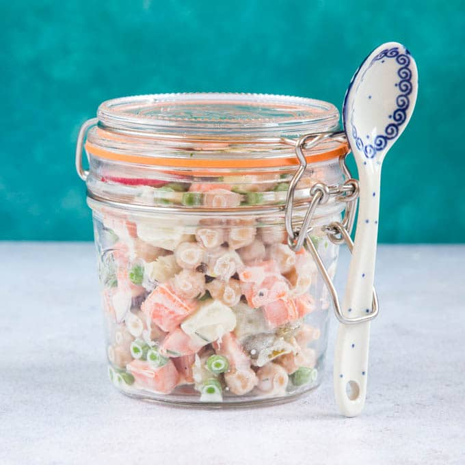 A jar of Russian salad - more interesting for lunch than another boring sandwich!