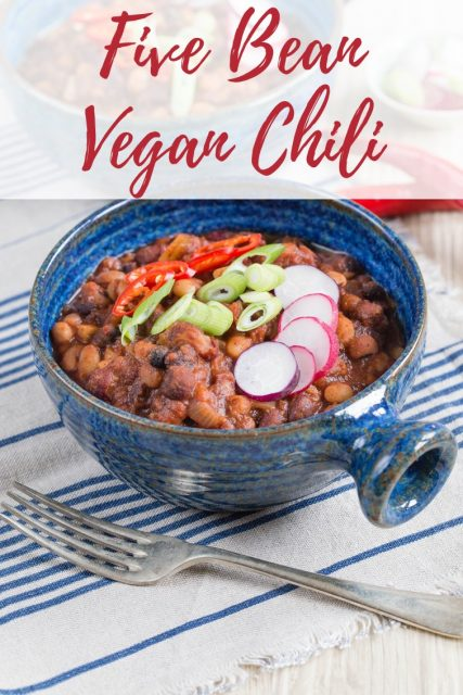 Delicious vegan 5 bean chilli served in blue pottery bowls