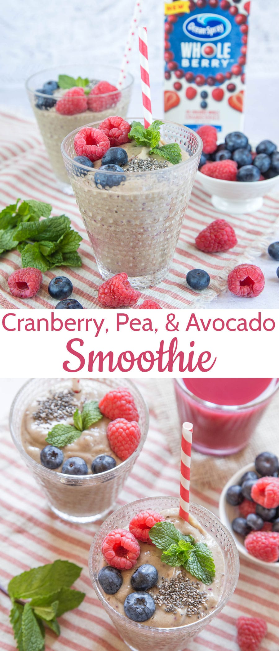 Two smoothies topped with fresh berries and mint with a text overlay