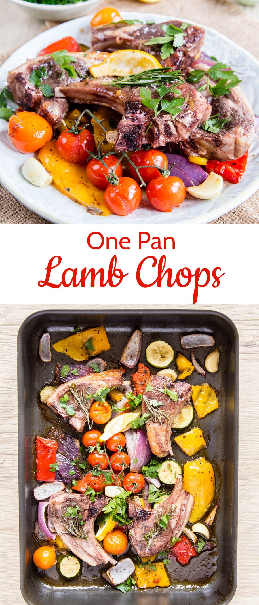 A lamb chop set on a white plate with roasted tomatoes and an overhead photo of lamb chops and veggies on a sheet pan with a text overlay