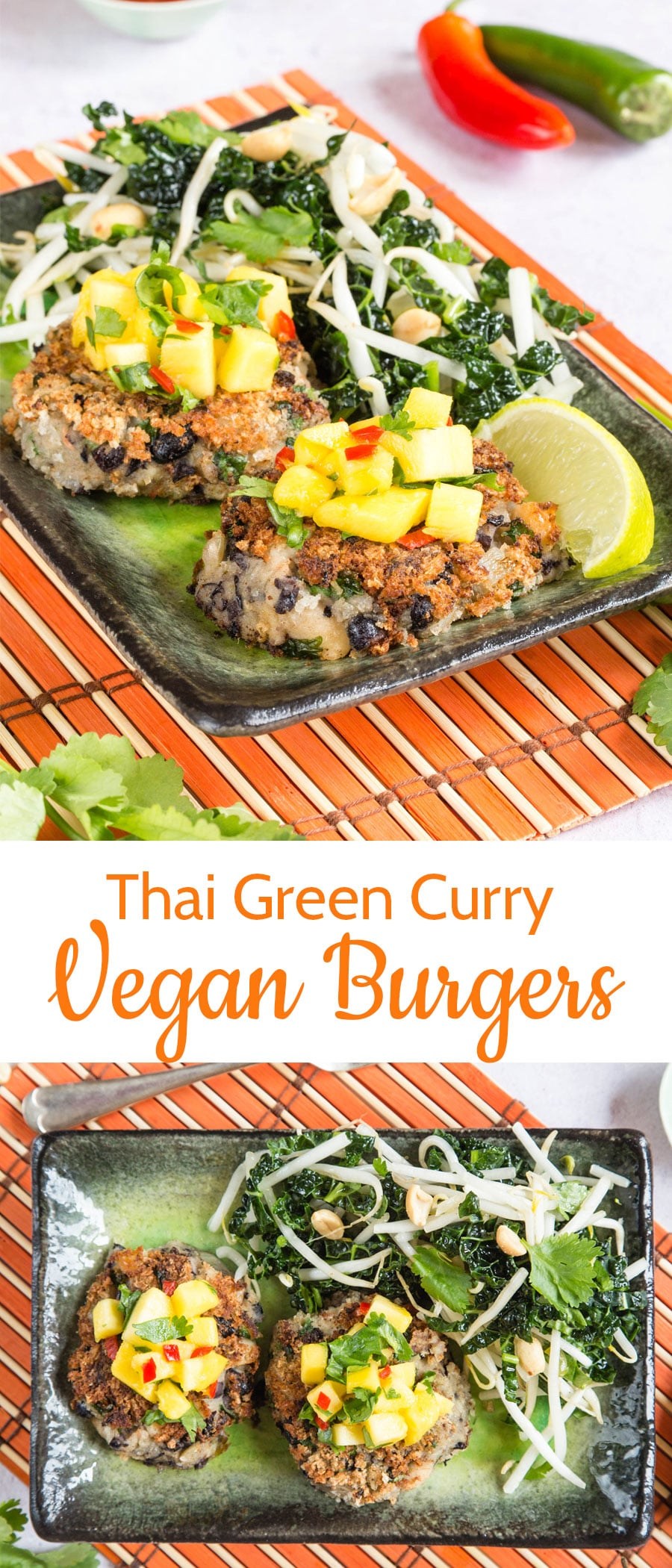 Thai Green Curry Vegan Burgers on a platter topped with chutney with a text overlay