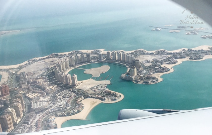 View of the artifical Island, The Pearl, Doha from the air
