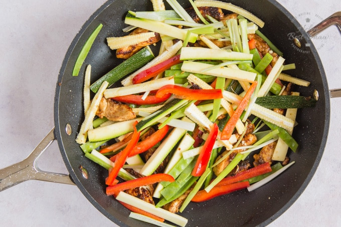 Vegetables, cut into strips and added to the chicken for chow mein.