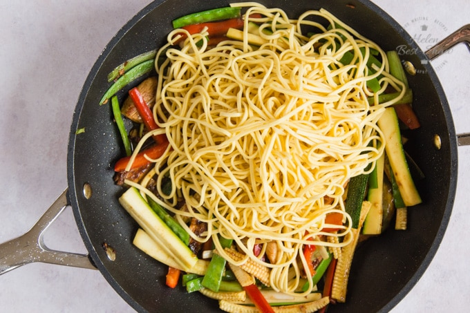 Egg noodles added to chicken chow mein.