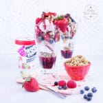 Frozen yogurt breakfast sundae with fruit compote