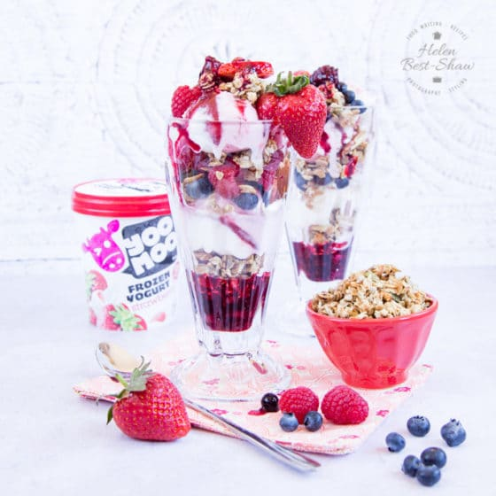 Frozen yogurt breakfast sundae with fruit compote