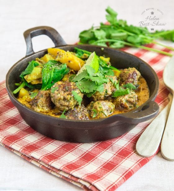 Beef Koftas with Sag Aloo Fakeaway Recipe {Dairy, GF}