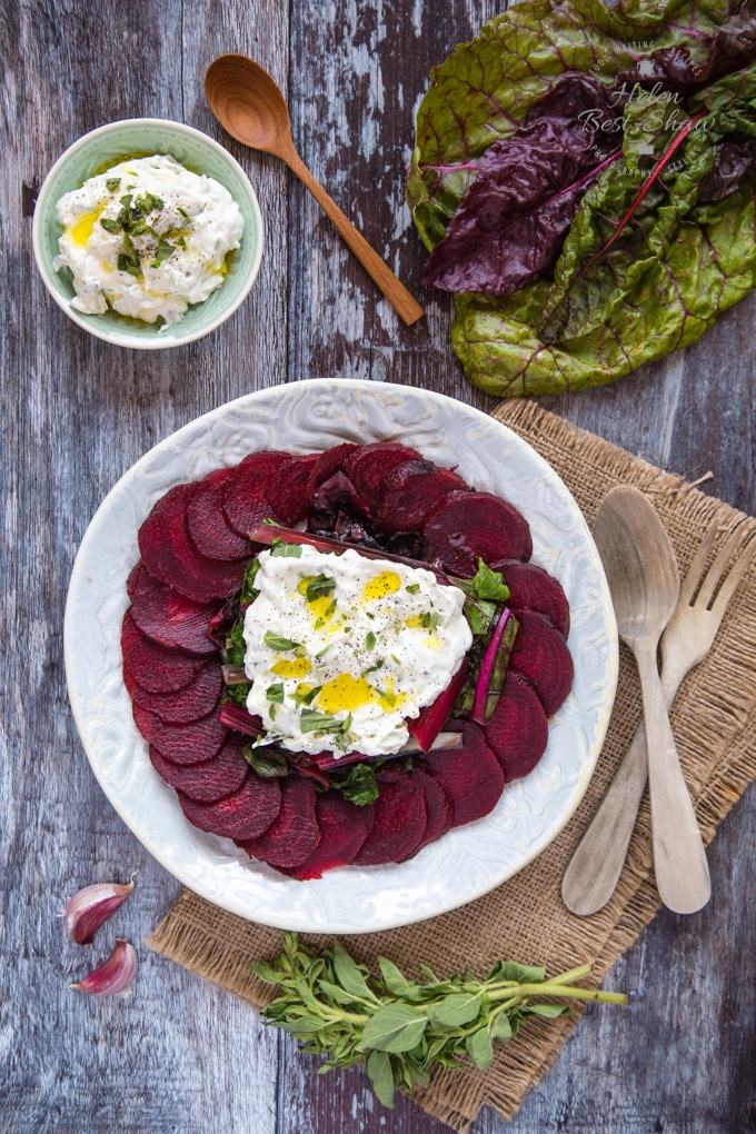 Top down shot of a plate of Easy beet salad