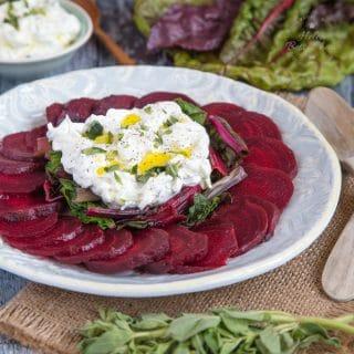 Easy Beet Salad with Labneh & Greens {Vegetarian, Gluten Free, Keto}