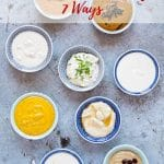 8 bowls of tahini dressing viewed from above. Text overlay reads Tahini dressing 7 ways.