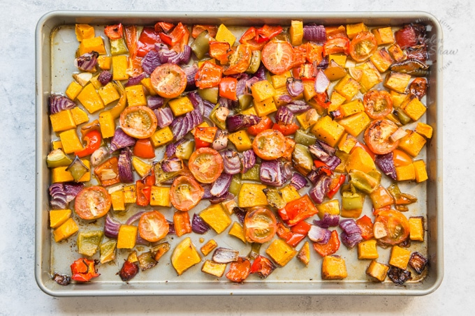 Mixed grain roast vegetable salad: the vegetables after roasting.