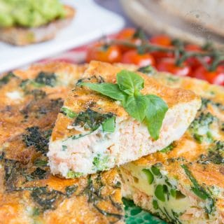 A sliced salmon and tenderstem brocolli frittata