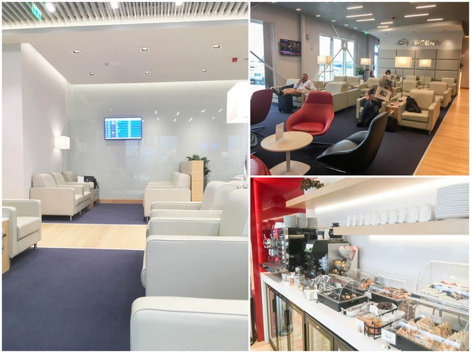 A collage of photos of the Aegean Airlines Business Class Lounge at Athens Airport