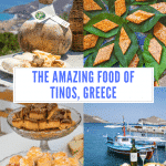 A collage of images of food from the Island of Ti os, showing a cheese made in a gourd skin, sweets on lemon leaes, a selection of pastries and a table laid out in front of a harbour