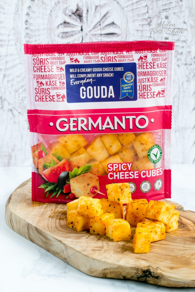 A packet of Germanto spicy cheese cubes made from Gouda cheese.