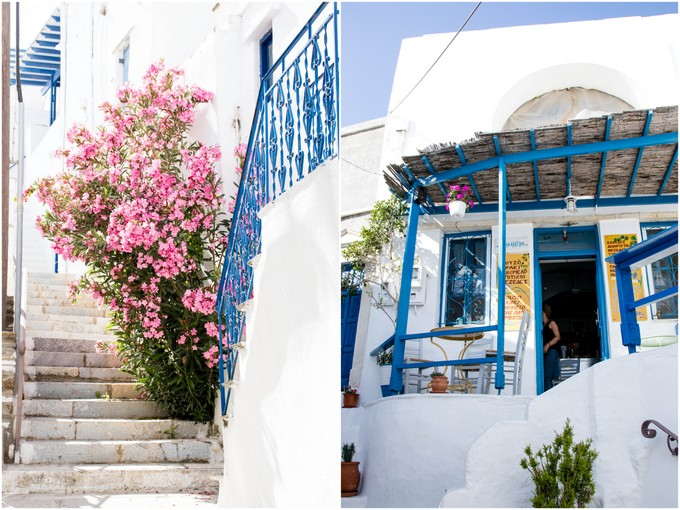Two photos of scens in Kardiani Tinos, White steps with a pink flowering plant on them and a view of a cafe wtih a covered terrace.
