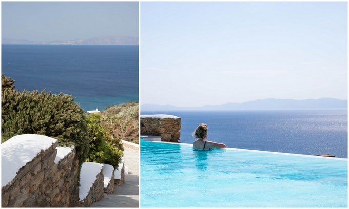 A walkway to the pool and a woman in a infinity pool overlooking the water after spending 3 days in Tinos