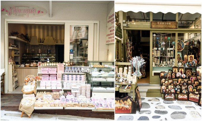 Confectionary and icon shops in Tinos Town, Tinos Island, Greece