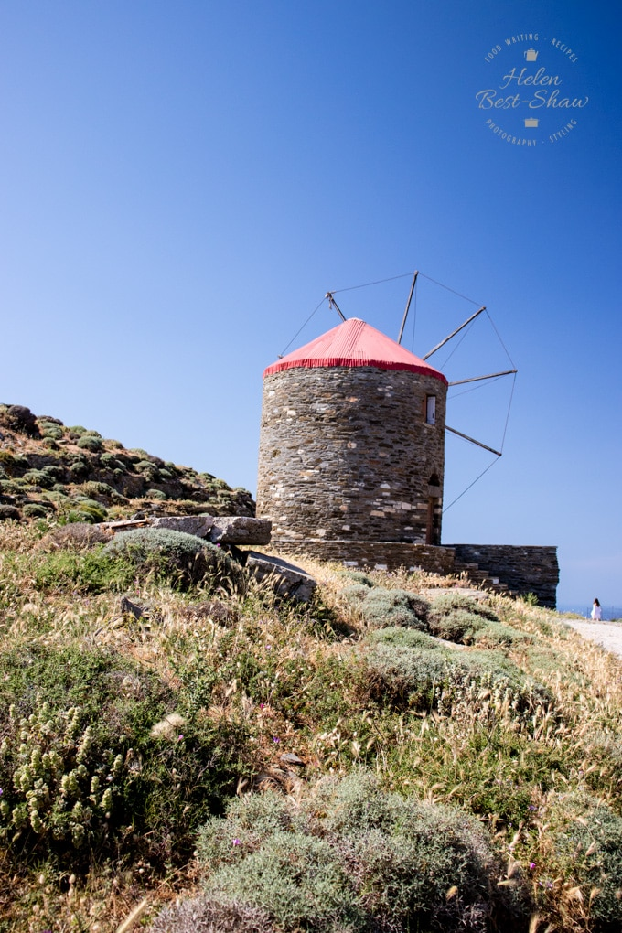 Windmill on the hilltop in Tinos