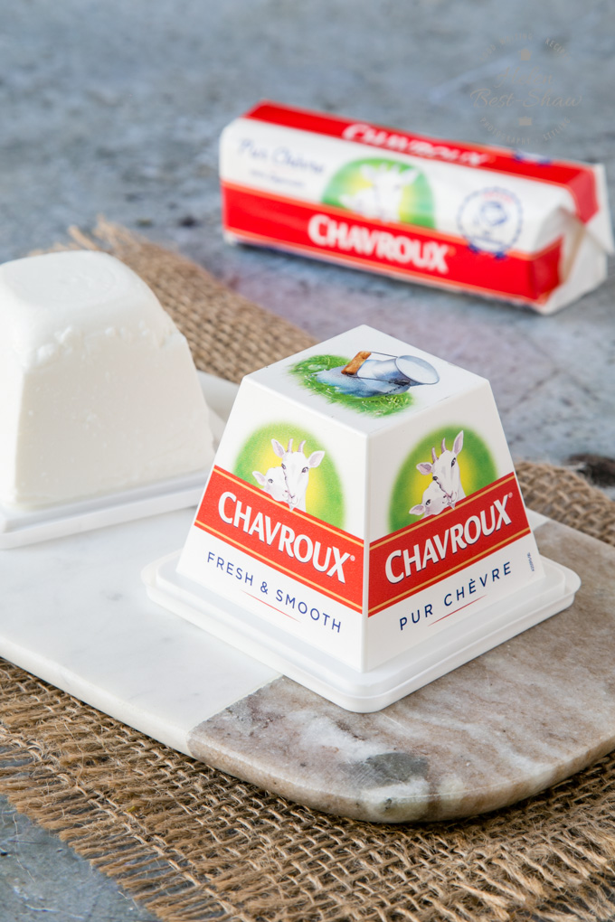 A pyramid and log of Chavroux goat's cheese