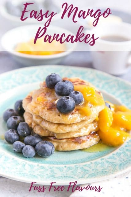 These Mango & Blueberry American style pancakes are delicious and not just for annual Pancake Day, you can make them for your weekend brunches as well! What would you serve them with?