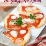 Craving pizza in a hurry? This no yeast, no rise emergency pizza recipe will come to the rescue. It's quick, easy and delicious, made in under 15 minutes!
