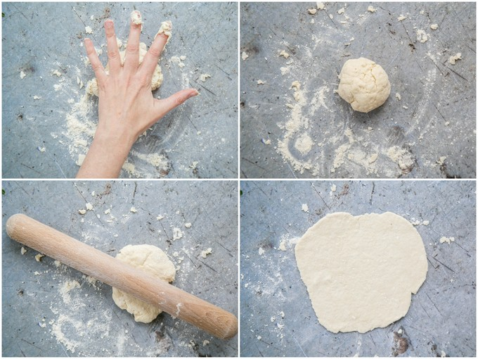 A top down view of four shots of easy emergency no yeast pizza dough. The dough is breifly kneaded, rolled into a ball, and then rolled out with a rolling pin.