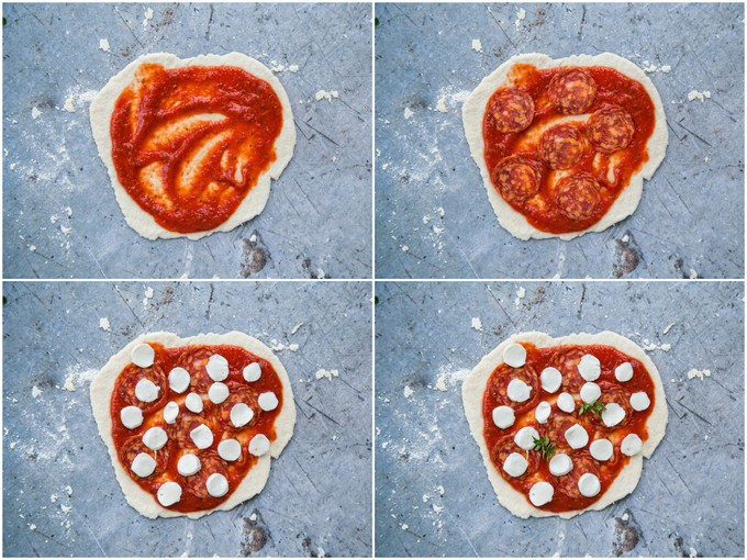 Easy emergency pizza - four top down shots of rolled out no yeast pizzza dough, covered in turn in tomato sauce, pepperoni sausage, mini mozzarella and thyme.