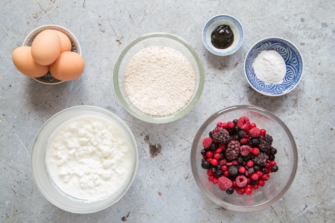 The ingredients for breakfast protein baked oats, measured out into bowls