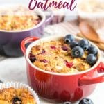 These baked oats are a healthy, warming and filling way to start the day. This version is made with cottage cheese and eggs to give a protein-rich breakfast. How did you start your day today?