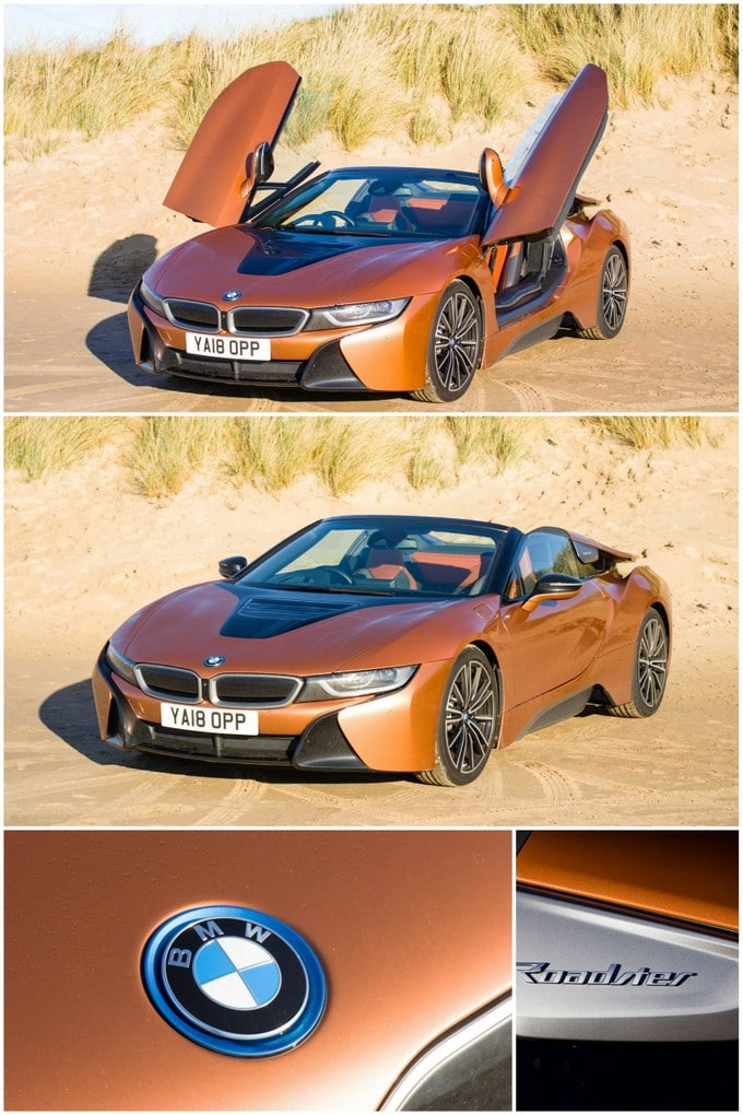 A collage of four pictures of the copper coloured BMW i8 Roadster. The top two pictures show the whole car, one with the semi-gullwing doors open, the other closed. The other two pictures are of a close up on the BMW bonnet logo, and the Roadster sign.