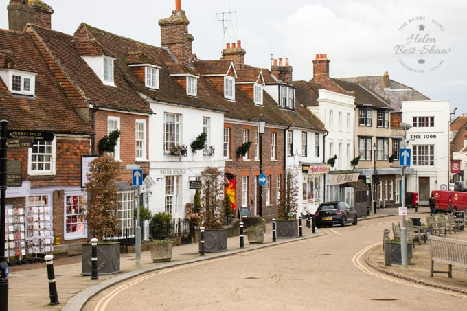 A picture of the shops on the High Street of Battle, East Sussex.
