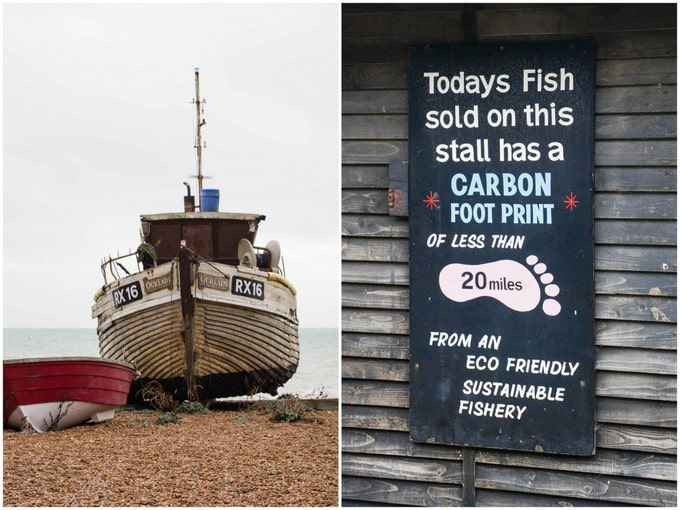 "A two-part picture: on the left is a fishing boat, taken from ahead, drawn up onto the shingle of Hastings beach. On the right is a sign saying ""Todays fish sold on this stall has a carbon footprint of less than 20 miles, from an eco friendly sustainable fishery"""