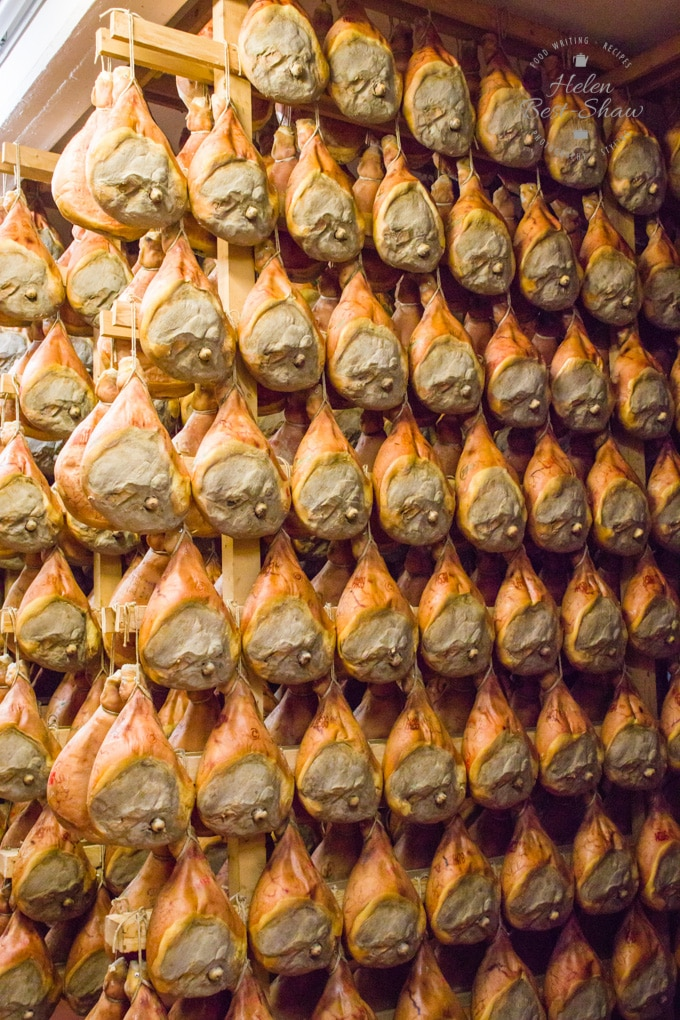 Rows of Parma hams awaiting quality inspection