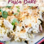 This easy recipe for a family friendly ham, mushroom & turkey pasta bake is perfect for using up Christmas or Thanksgiving leftover turkey. Make it a few days after the holiday to keep your family full!