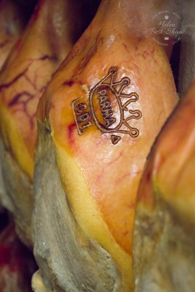Mature Parma Ham wtih the Parma ham crown on it
