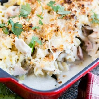 Leftover Turkey Pasta Bake with Ham & Mushrooms