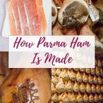 A collage of four pictures, three of Parma ham being produced, and one of sliced ham.