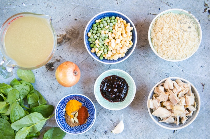 A top down view of the ingredients for leftover roast chicken biryani