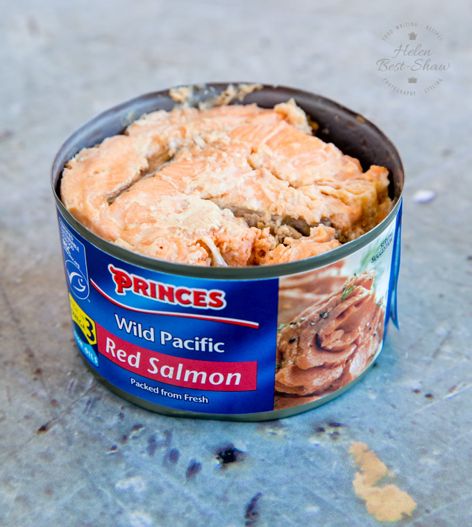 A close up of a tin of Princes wild Pacific Red Salmon.