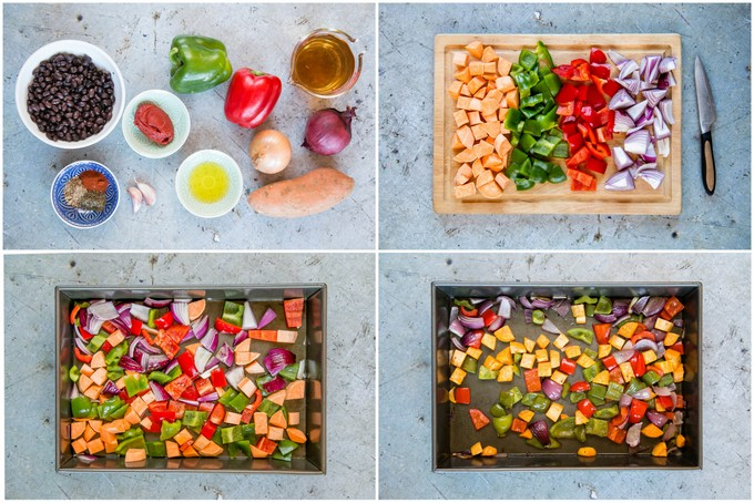 A collage of the stages of making Brazilian roasted vegetable feijoada. The ingredients are assembled, the vegetables are chopped, and then transferred to a pan and roasted.