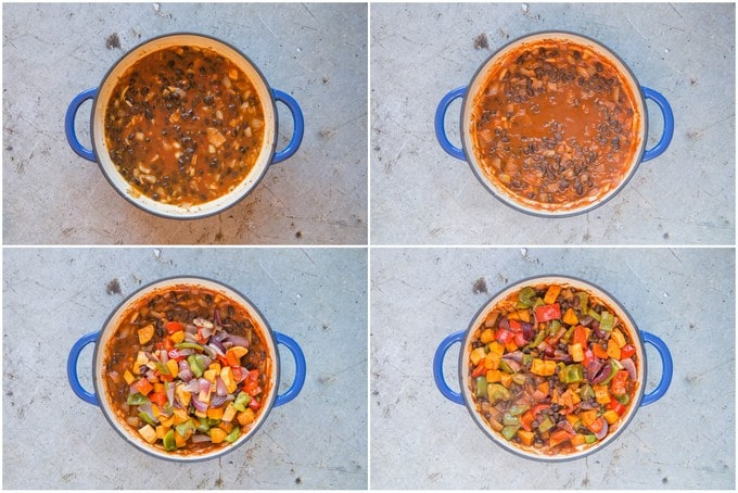 A collage of four top down pictures of making Brazilian roasted vegetable feijoada. The black beans are cooked and the roasted vegetables added.