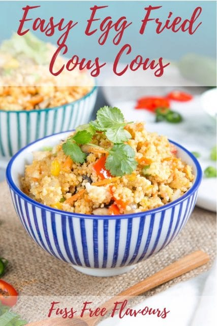 A bowl of easy egg fried cous cous.
