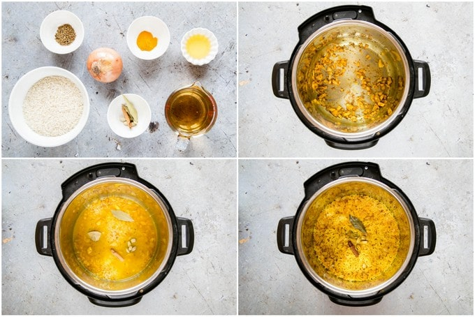 A collage of four top down pictures showing the stages of making easy Instant Pot pilau rice.